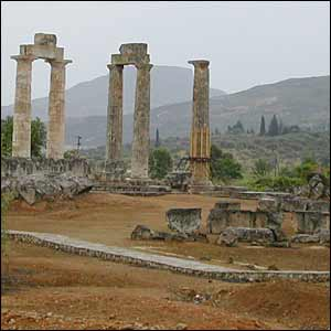 Five colums are what remains of the Temple of Zeus in Nemea.
