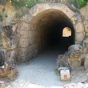 A stone-lined tunnel leading into Nemea's Olympic stadium.