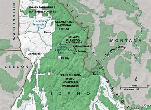 Detailed map of the Selway-Bitterroot Wilderness