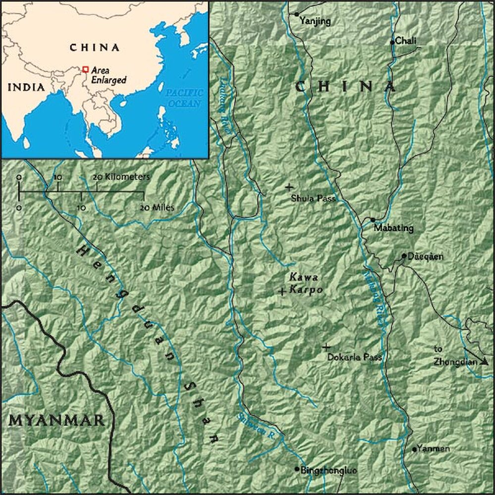 Map of Yunnan Province area, China