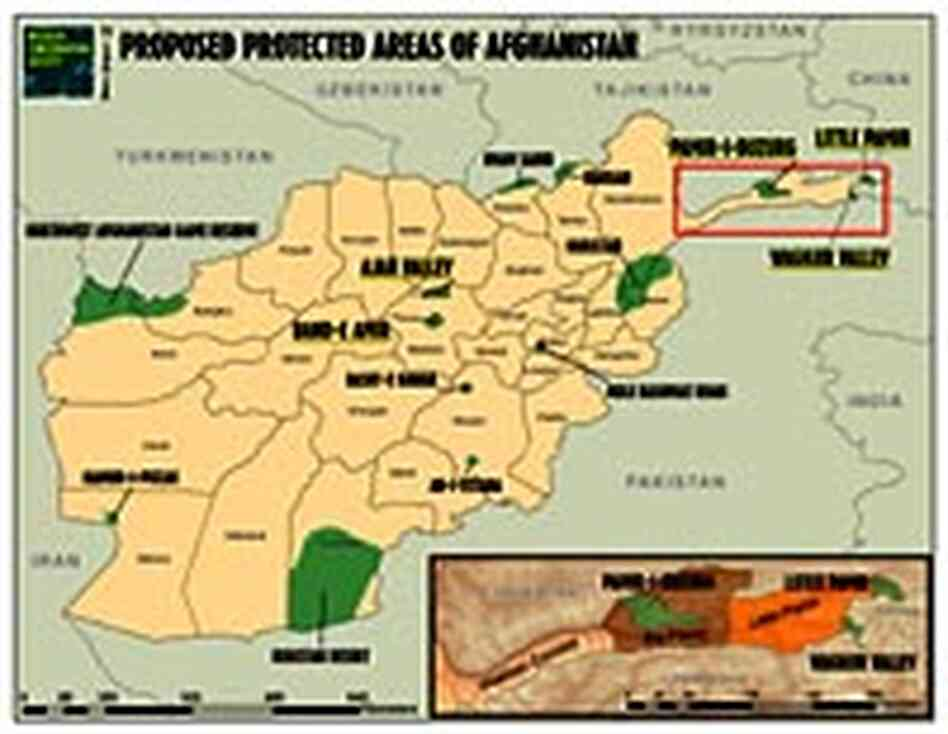 Map of areas proposed as wildlife reserves in Afghanistan.