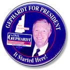 'Gephardt for President' button