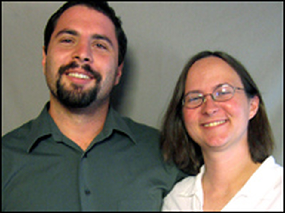 Cathy Resmer and Jules Fishelman at a StoryCorps booth.
