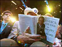 Democrats were eager to turn the page on the Bush years — like this convention attendee.