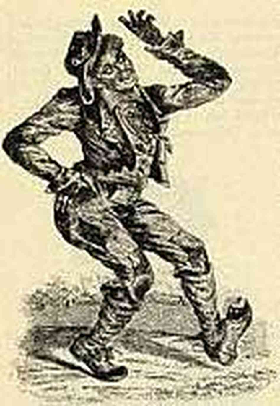 A woodcut print of famous white minstrel T.D. Rice