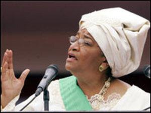 Ellen Johnson Sirleaf speaks at a ceremony.