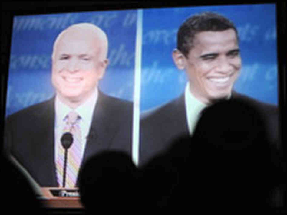 McCain, Obama at first presidential debate. JEWEL SAMAD/AFP/Getty Images.