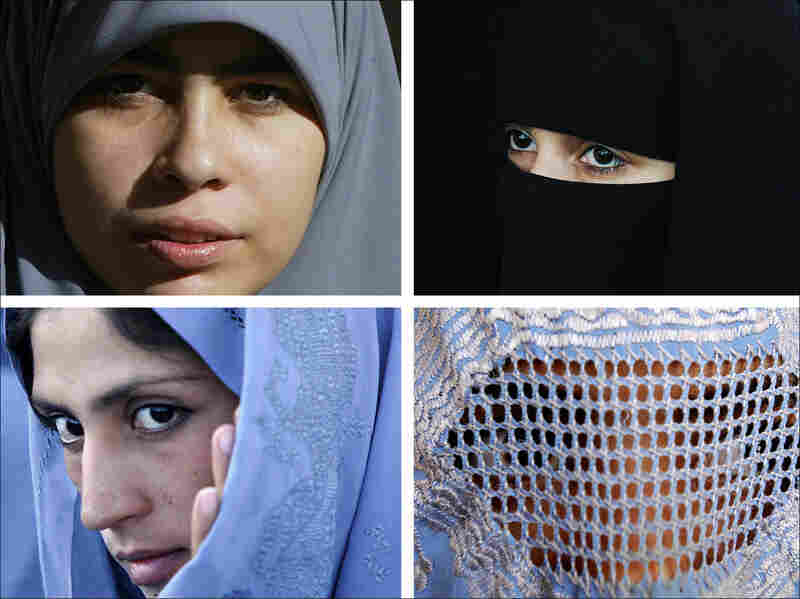 Muslim women in different types of head covers
