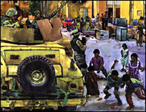 Kids in Zafariniya, Baghdad, scramble for candy tossed by soldiers from the Washington National Guar