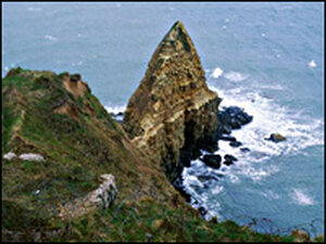 Pointe du Hoc, a cliff that American rangers climbed during the D-Day invasion of June 6, 1944.