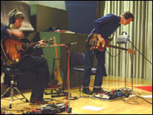 Wilco band members Pat Sansoe (left) and Nels Cline.