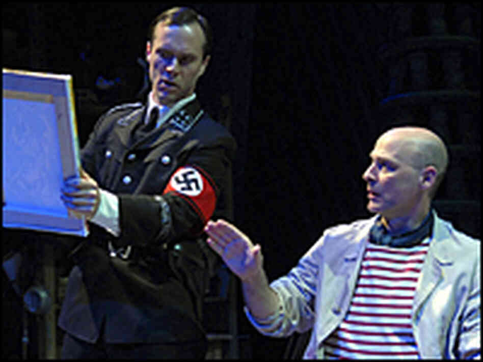 A Nazi officer interrogates Picasso in the D.C. production of 'Picasso's Closet.'