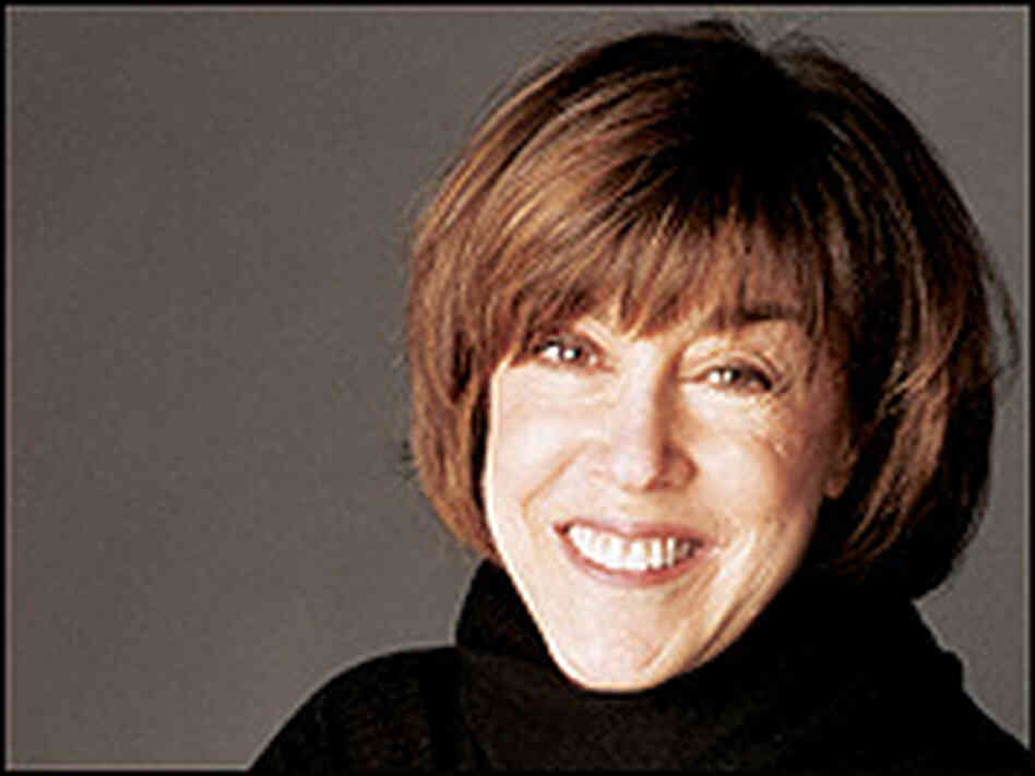 Nora Ephron in a black turtleneck sweater.