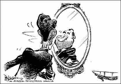 Cartoon shows Reagan looking in the mirror and seeing Nixon