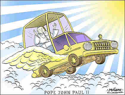 Cartoon shows Pope riding to heaven in Pope mobile.