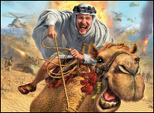 Promotional poster for Where in the World Is Osama? Illustration of Morgan Spurlock on a camel.