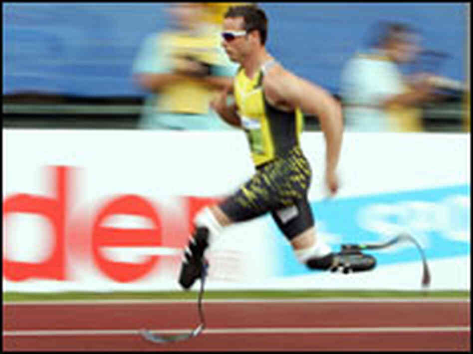 South Africa's Oscar Pistorius competing in the men's 400m race