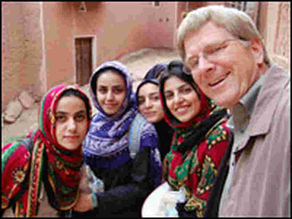 Rick Steves with Muslim women in Iran