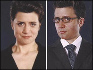 Norah Vincent shown side by side as a woman and disguised as a man.