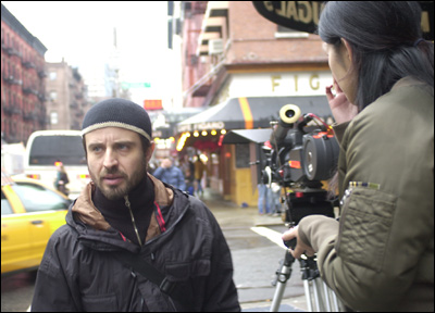 Student filmmaker Vincenzo Tripodo on his <i>Heart of Spider</i> set.