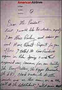 Elvis' letter to Nixon, requesting a White House meeting.