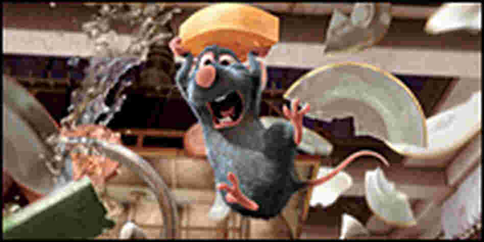 Remy splashing through sink, carrying cheese, from 'Ratatouille'