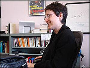 Elizabeth Samet in her West Point office overlooking the Hudson River.