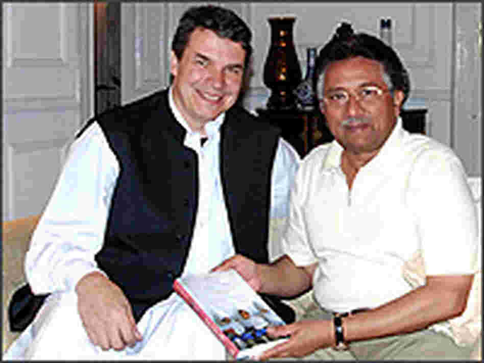 Greg Mortenson and Pakistan's Pervez Musharraf.