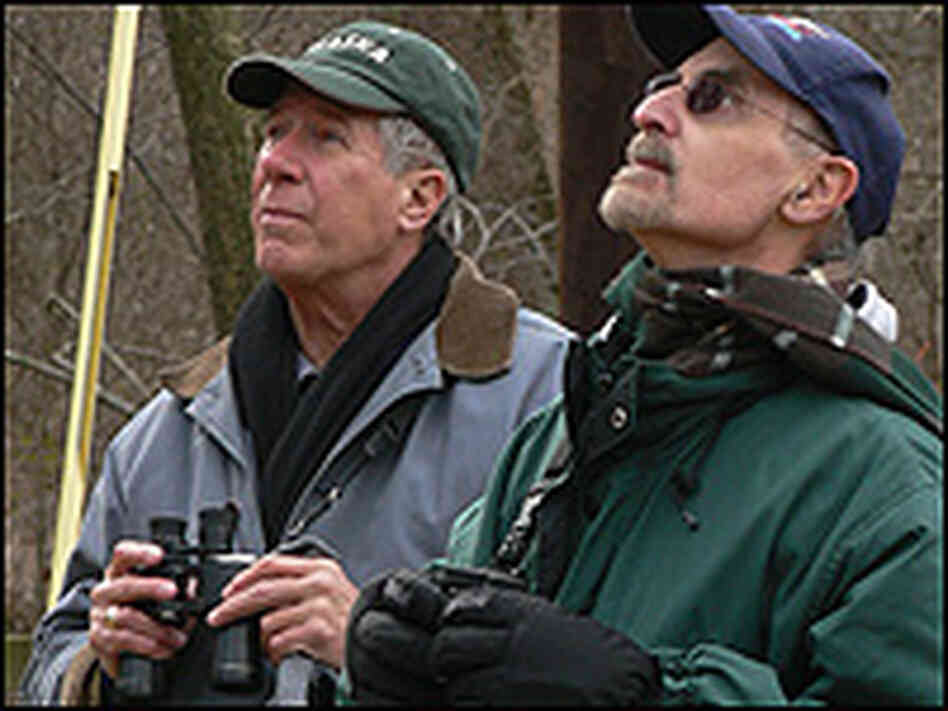Bird watchers John Haslinger and Dan Rueben