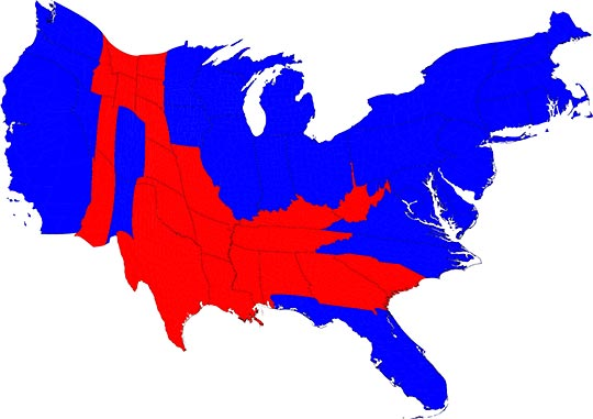 The revised Electoral College map. CREDIT: Mark Newman/University of Michigan