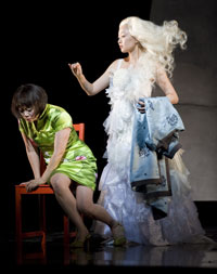 Ruth Young Kamen (played by Zheng Cao) and Precious Auntie (Qian Yi) premiere in The Bonesetter's Daughter at the San Francisco Opera. [Photo: Terrence McCarthy/NPR]