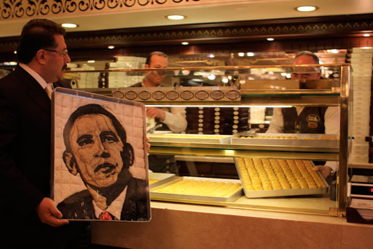 Nadir Gullu shows off his Obama portrait made of baklava