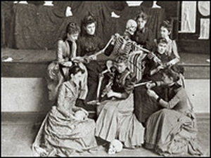 Students pose with a skeleton. Credit: Miami University Libraries