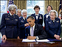 Obama signs a bill to award a Congressional Gold Medal to the WASPs. Pete Souza/White House