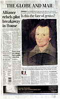 Toronto Globe and Mail front page featuring new Shakespeare portrait