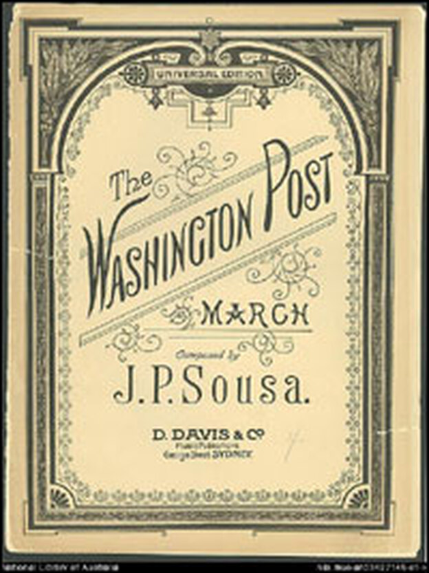 Sheet music for 'The Washington Post March,' written by Sousa in 1889.