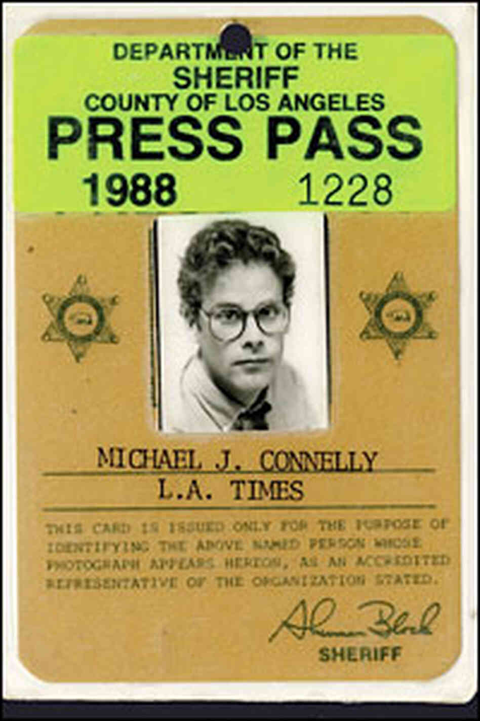 Novelist connelly revisits his 39 crime beat 39 days npr for Media press pass template