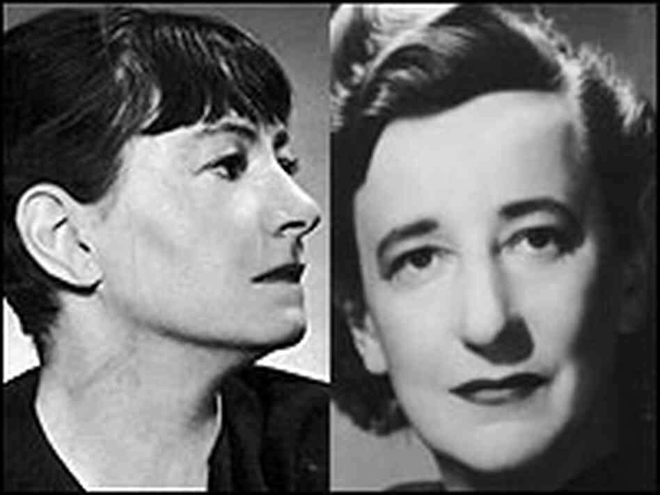 Portrait photos of Dorothy Parker and Lillian Hellman.