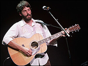 "Ray LaMontagne performs on stage at the ""From the Big Apple to the Big Easy"" benefit concert."