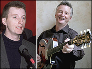 Billy Bragg at the 1985 launch of the musicians' collective Red Wedge (left), and more recently.