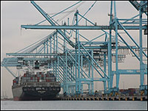An international container is loaded at the Port of Los Angeles.