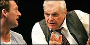 Brian Dennehy, as Willy Loman, lectures Biff, played by Douglas Henshall