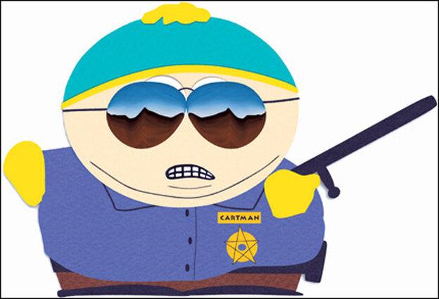 Cartman in cop attire.