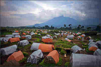 A tent city near the boundary of Virunga National Park.