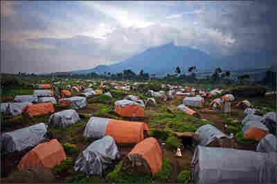 A tent city near the boundary of Virunga National Park.