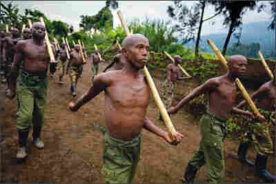 Rebel Tutsi fighters train in Virunga National Park.