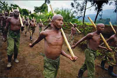 Rebel Tutsi fighters train in Virunga National Park.