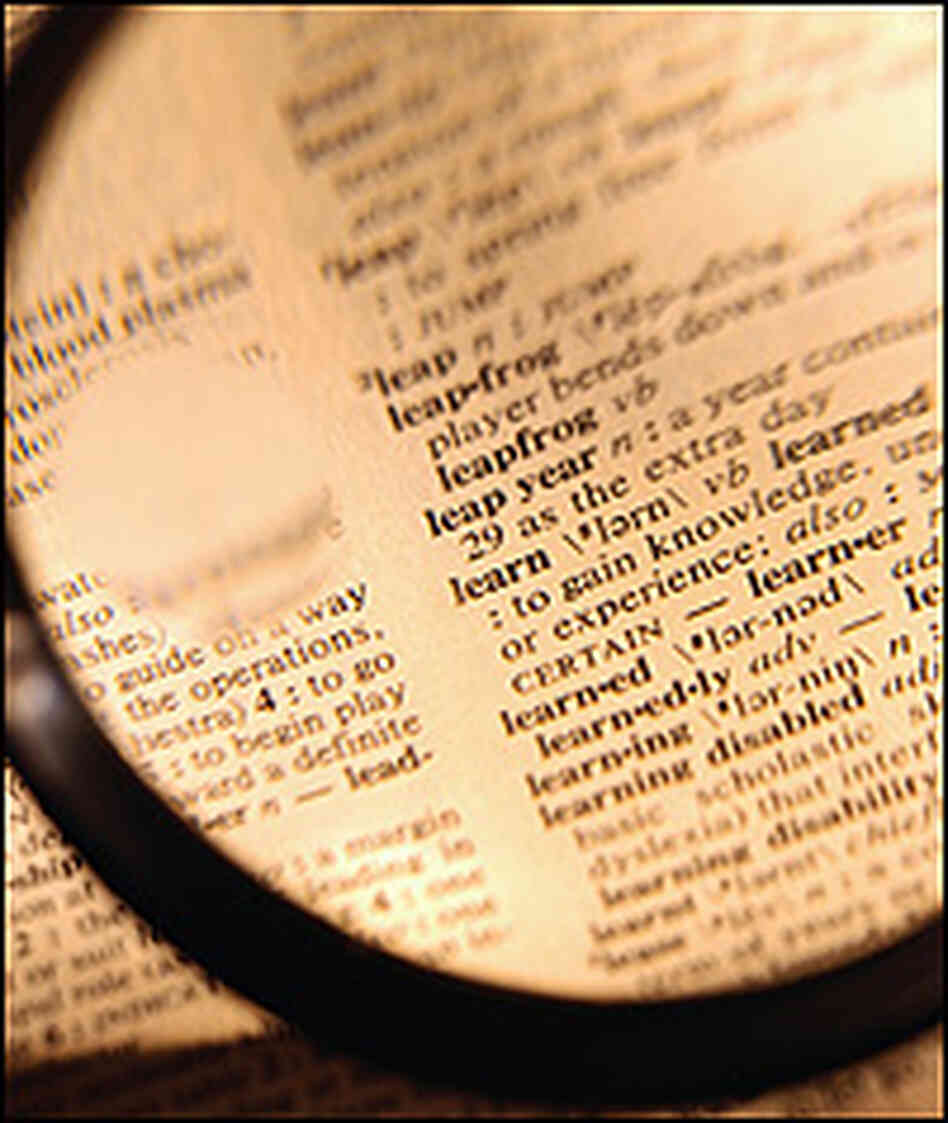 Magnifying glass held over dictionary