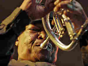 Hugh Masekela performs on the fluegelhorn in Kenya in 2007.