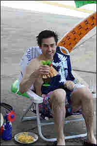 Malkoff enjoys his tarmac pool party in Charleston, S.C. Courtesy Mark Malkoff.